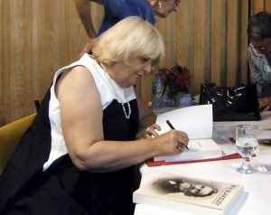 Helen Blakeley signing book
