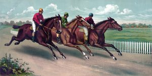 Illustration of jockeys and horses