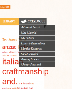Screenshot Catalogue dropdown menu