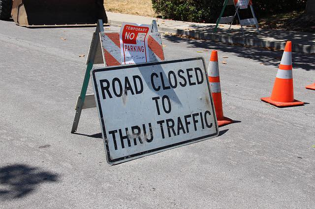 image of road works with road closed sign