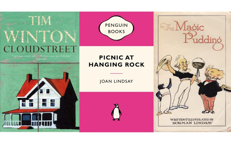 3 fiction book covers - Cloud Street, Picnic at Hanging Rock and the Magic Pudding
