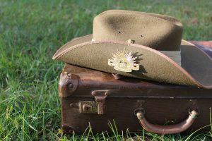 Image of ANZAC hat on suitcase