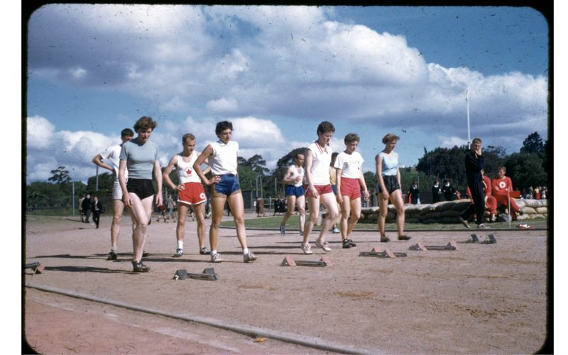 Photograph of athletes preparing to compete in race