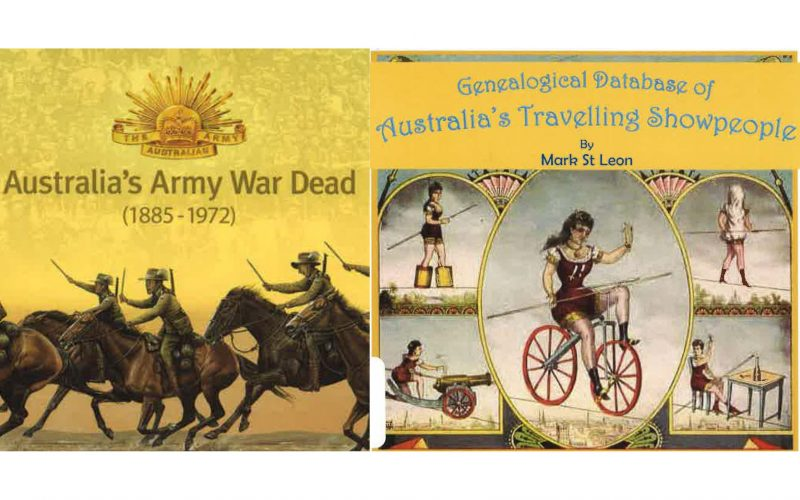 Covers of Australia's Army War Dead (1885-1972) and Genealogical Database of Australia's Travelling Showpeople